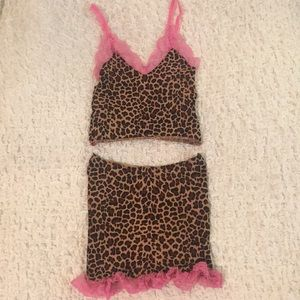 SET Pink Lace & Leopard Print Top and Skirt
